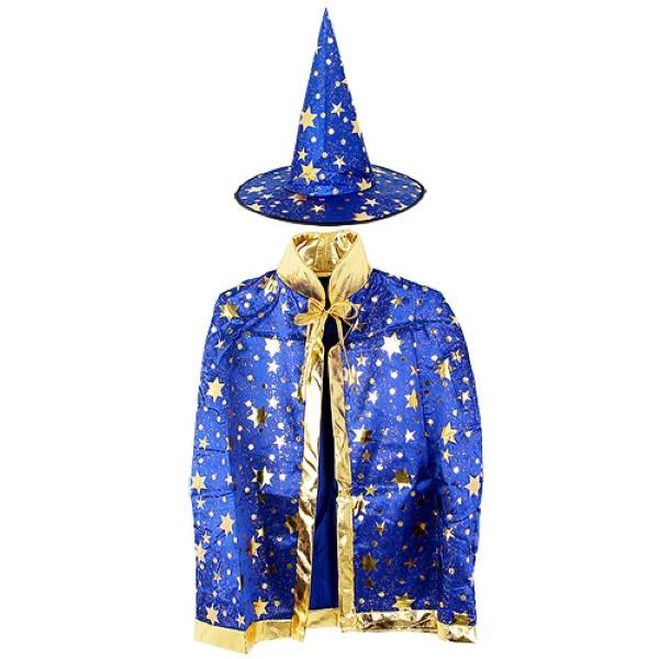 할로윈 별무늬 망토 의상+모자 세트 [블루]