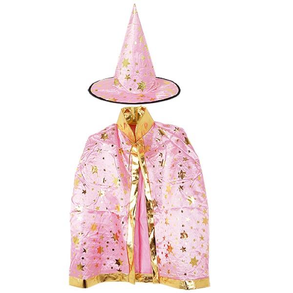 할로윈 별무늬 망토 의상+모자 세트 [핑크]