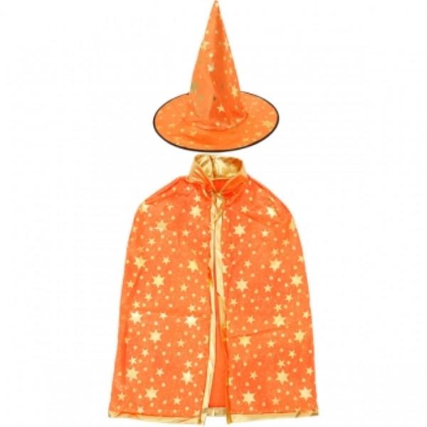 할로윈 별무늬 망토 의상+모자 세트 [오렌지]