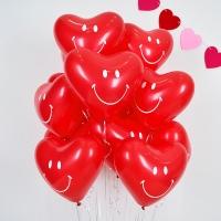 헬륨하트풍선 스마일 레드 10개 [차량배달] 온라인한정