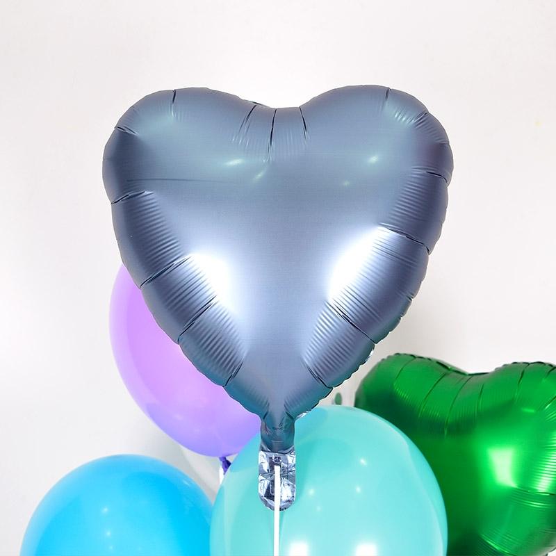 헬륨풍선 은박하트 스틸블루 [차량배달] 온라인한정