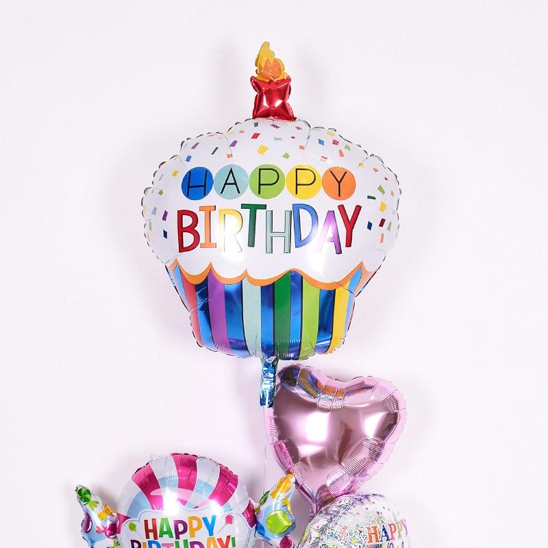 생일은박 헬륨풍선 레인보우 생일컵케익 [차량배달] 온라인한정