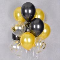 컨페티 헬륨풍선 골드앤 블랙 3색혼합 10개묶음 [차량배달] 온라인한정