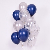 컨페티 헬륨풍선 실버앤 네이비 3색혼합 10개묶음 [차량배달] 온라인한정